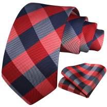 HISDERN Plaid Tie Handkerchief Woven Classic Argyle Men's Necktie & Pocket Square Set