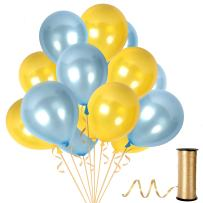 Metallic Gold and Light Blue Balloons 12 Inch Latex Pack of 100 Party Kit for Unicorn Baby Shower Birthday Bridal Shower Party Decor