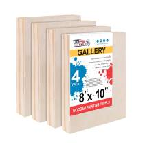 "U.S. Art Supply 8"" x 10"" Birch Wood Paint Pouring Panel Boards, Gallery 1-1/2"" Deep Cradle (Pack of 4) - Artist Depth Wooden Wall Canvases - Painting Mixed-Media Craft, Acrylic, Oil, Encaustic"
