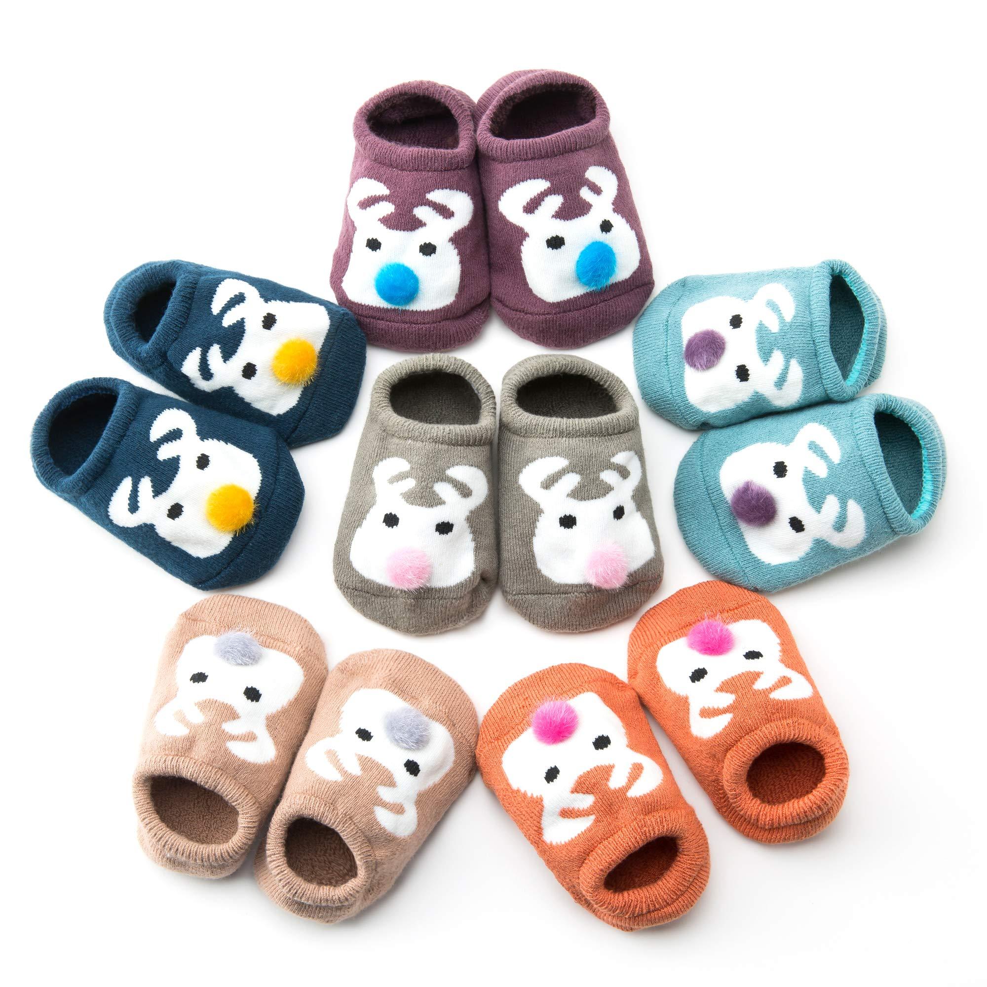 WONYERED 6 Pairs Antiskid Ankle Baby Socks Baby Floor Socks for Toddler Unisex Baby Gifts Set for Baby Girls or Boys