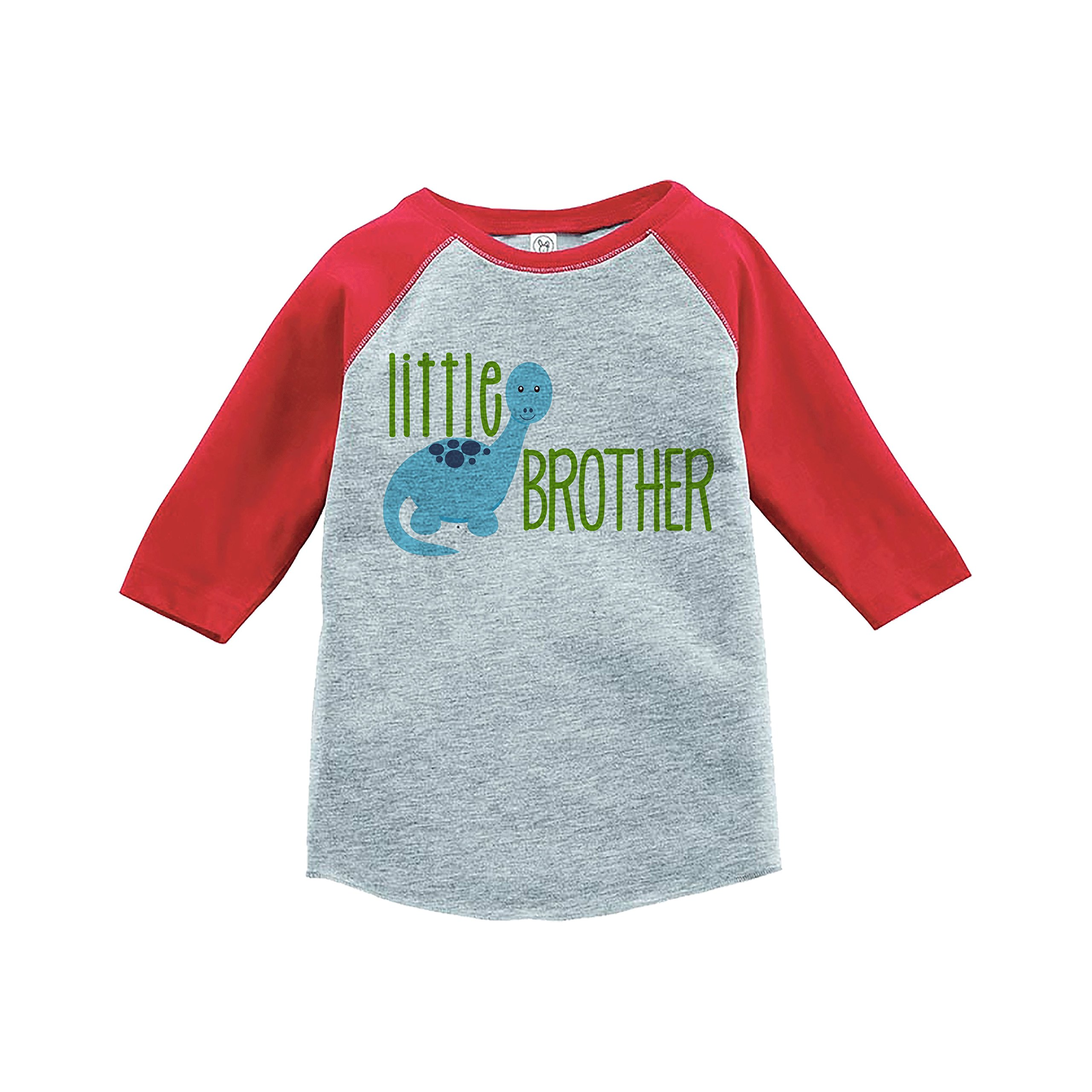 7 ate 9 Apparel Boy's Dinosaur Little Brother Red Baseball Tee