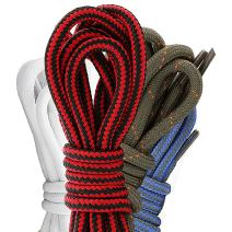 (4 PACK PAIRS) DailyShoes Round Hiking Shoelaces, Strong Durable, Dalliance Languor
