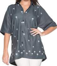 LA LEELA Women's Plus Size Hawaii Aloha Dress Shirt for Casual Wear Embroidered