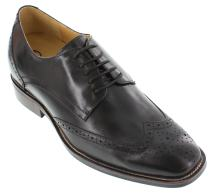 CALTO Men's Invisible Height Increasing Elevator Shoes - Black Leather Lace-up Brogue Wing-tip Dress Derby - G60128-3 Inches Taller