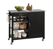 ACME Furniture Isl Ottawa Kitchen Island, Stainless Steel/Black