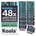 Koala Anti Fog Wipes for Glasses   Nano-Tech   48 Single-Use Wipes   Anti-Fog for All Lenses