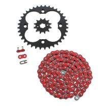 2003-2007 Fits Honda 300EX TRX300EX Non O-Ring Red Chain & Silver Sprocket 12/36