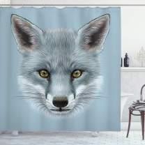 "Ambesonne Animal Shower Curtain, Grey Fox Portrait Fluffy Forest Creature Mammal Wildlife Style Illustration, Cloth Fabric Bathroom Decor Set with Hooks, 70"" Long, Light Blue"