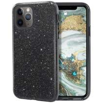 MILPROX iPhone 11 Pro Max Case, Bling Sparkly Glitter Luxury Shiny Sparker Shell, Protective 3 Layer Hybrid Anti-Slick Slim Soft Cover for iPhone 11 Pro Max 6.5 inch (2019)-Black