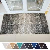 DEARTOWN Non-Slip Shaggy Bathroom Rug,Soft Microfibers Bath Mat with Water Absorbent, Machine Washable(Multicolor-Grey,31x59 Inches)