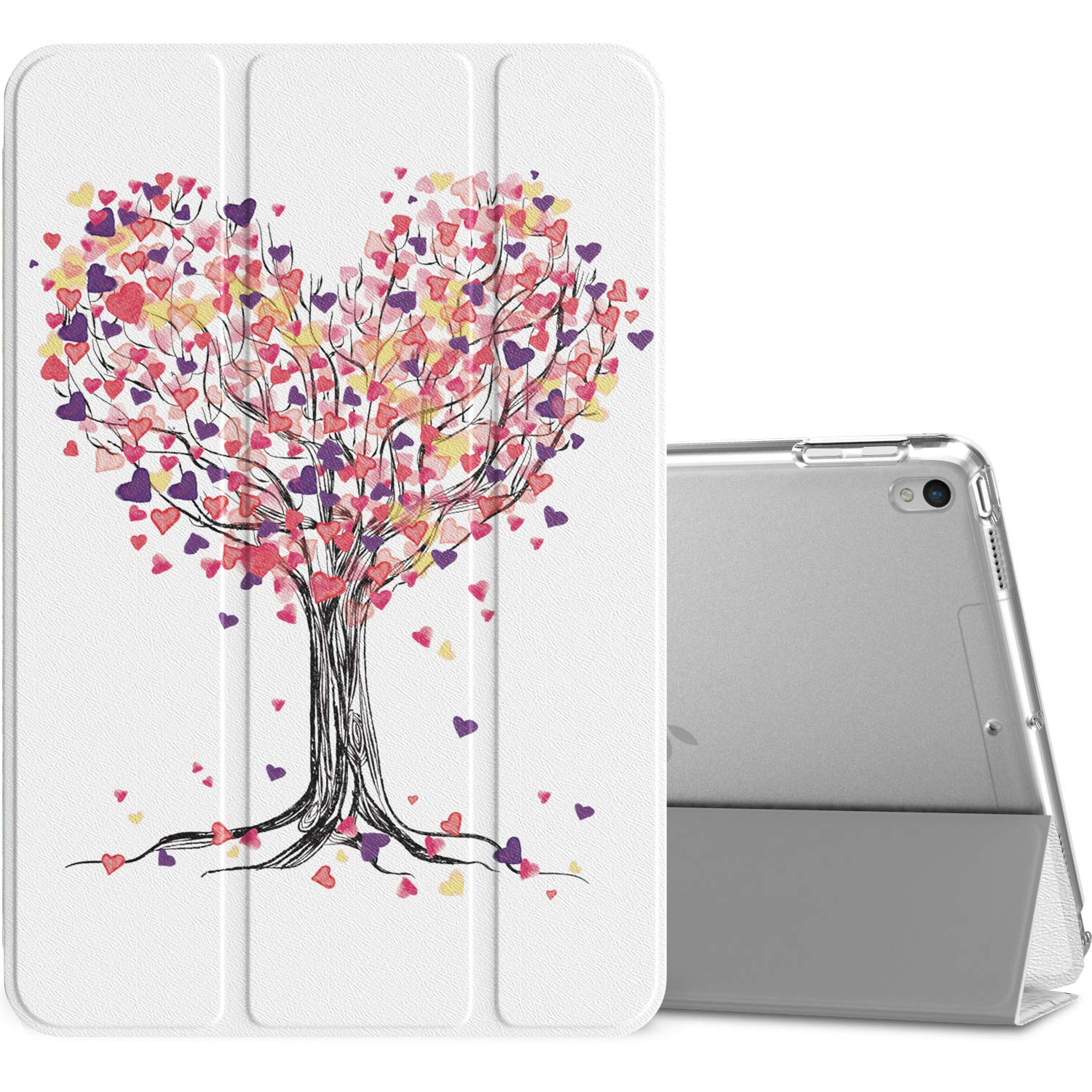"""MoKo Case Fit New iPad Air (3rd Generation) 10.5"""" 2019/iPad Pro 10.5 2017 - Slim Lightweight Smart Shell Stand Cover with Translucent Frosted Back Protector - Love Tree (Auto Wake/Sleep)"""
