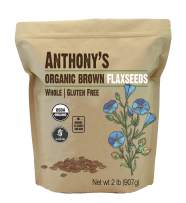 Anthony's Organic Brown Whole Flaxseed, 2 lb, Batch Tested and Gluten Free, Raw, Non GMO, Sproutable, Keto Friendly
