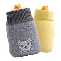 Smartdevil Hot Water Bottle, Microwaveable, Odorless Premium Silicone Material, 350ml Mini Hot Water Bag with Soft Knitted Insulation Cover for Hands, Back, Neck, Waist, Legs, Bed Warmer (Yellow)