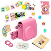 Quality Photo Instant Camera 12-Piece Accessories Bundle -Flamingo Pink- Compatible w/Fujifilm Instax Mini 8 & Mini 9 Camera Includes; Case W/Strap, Lens Filters, Photo Album & Frames + More