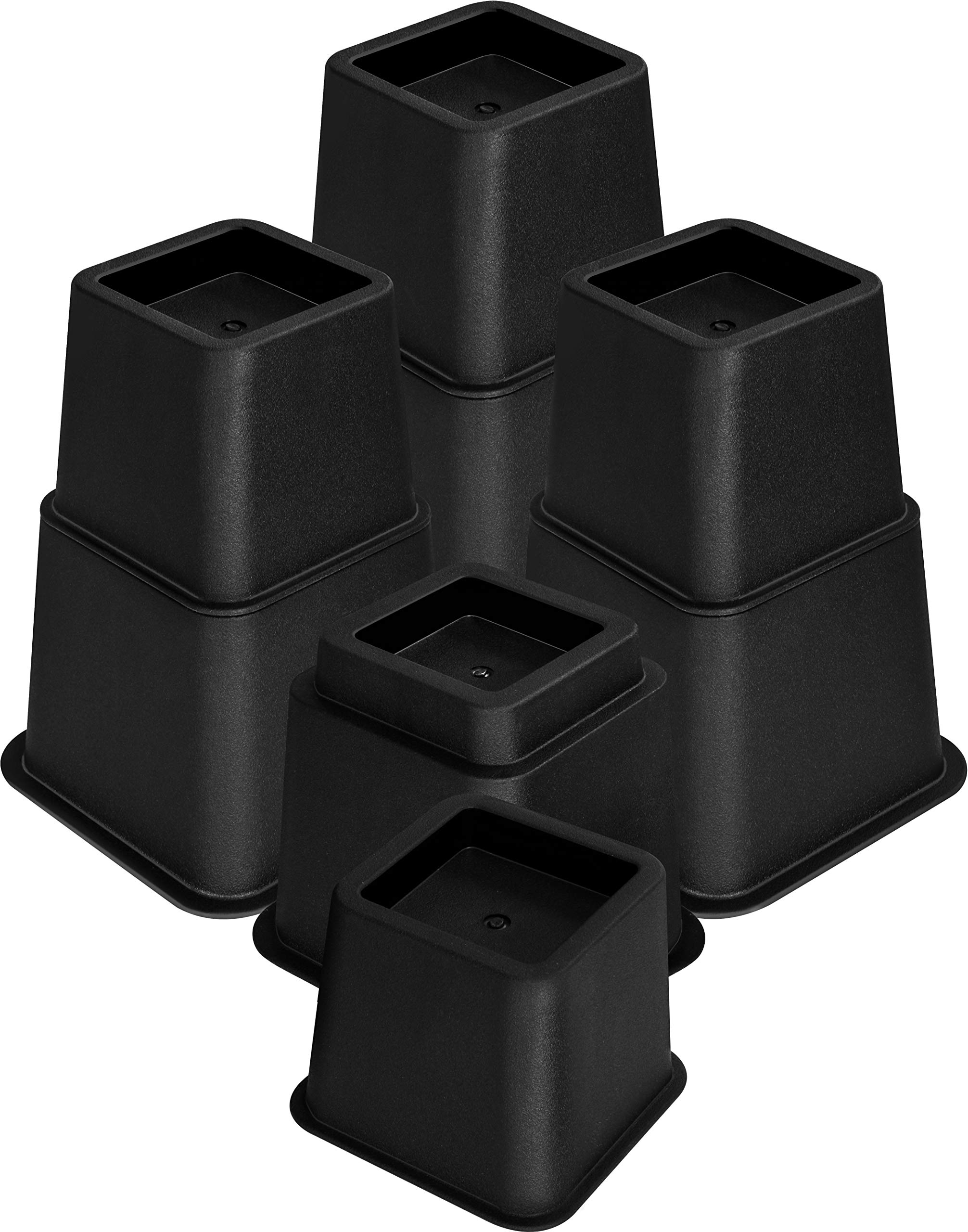 Utopia Bedding Adjustable Bed Furniture Risers - Elevation in Heights 3, 5 or 8 Inch Heavy Duty Risers for Sofa, Table, and Chair - Supports up to 1,300 lbs - (8 Piece Set, Black)