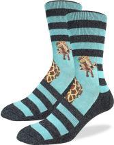 Good Luck Sock Men's Giraffe Crew Socks - Blue, Adult Shoe Size 8-13