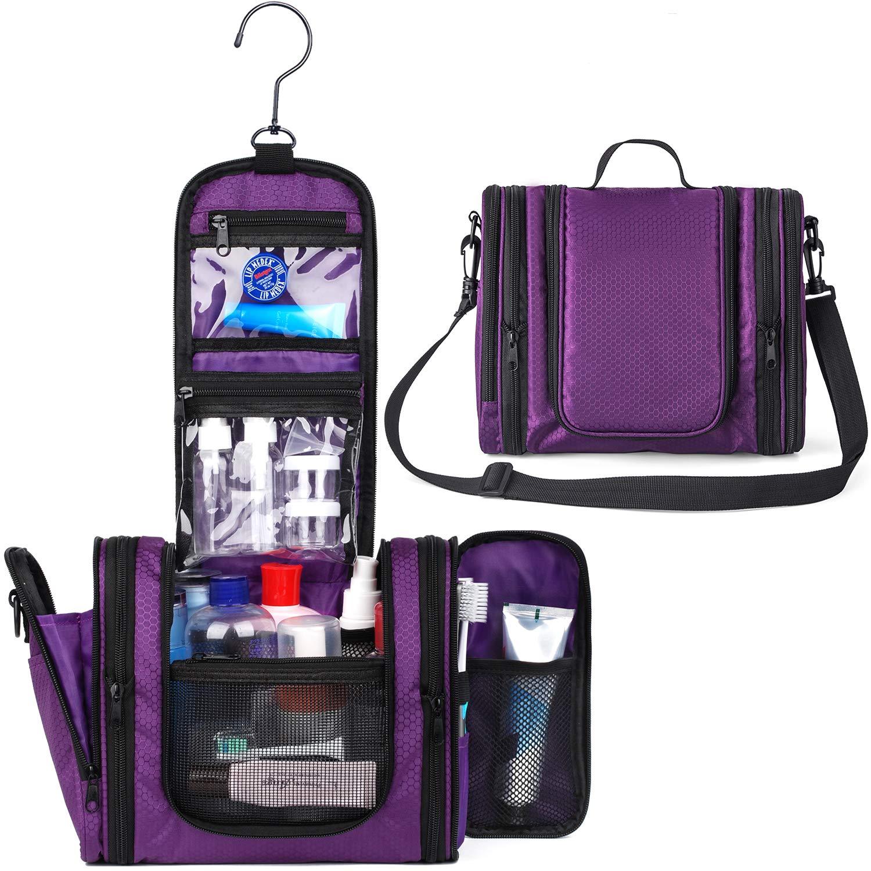 WANDF Expandable Toiletry Bag Dopp Kit TSA Approved Bottles Water Resistant Nylon, Purple