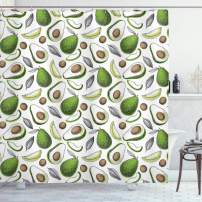 """Lunarable Vegetables Shower Curtain, Organic Avocado Leaves Detox Antioxidant Lifestyle Stay Young Print, Cloth Fabric Bathroom Decor Set with Hooks, 70"""" Long, Lime Green"""