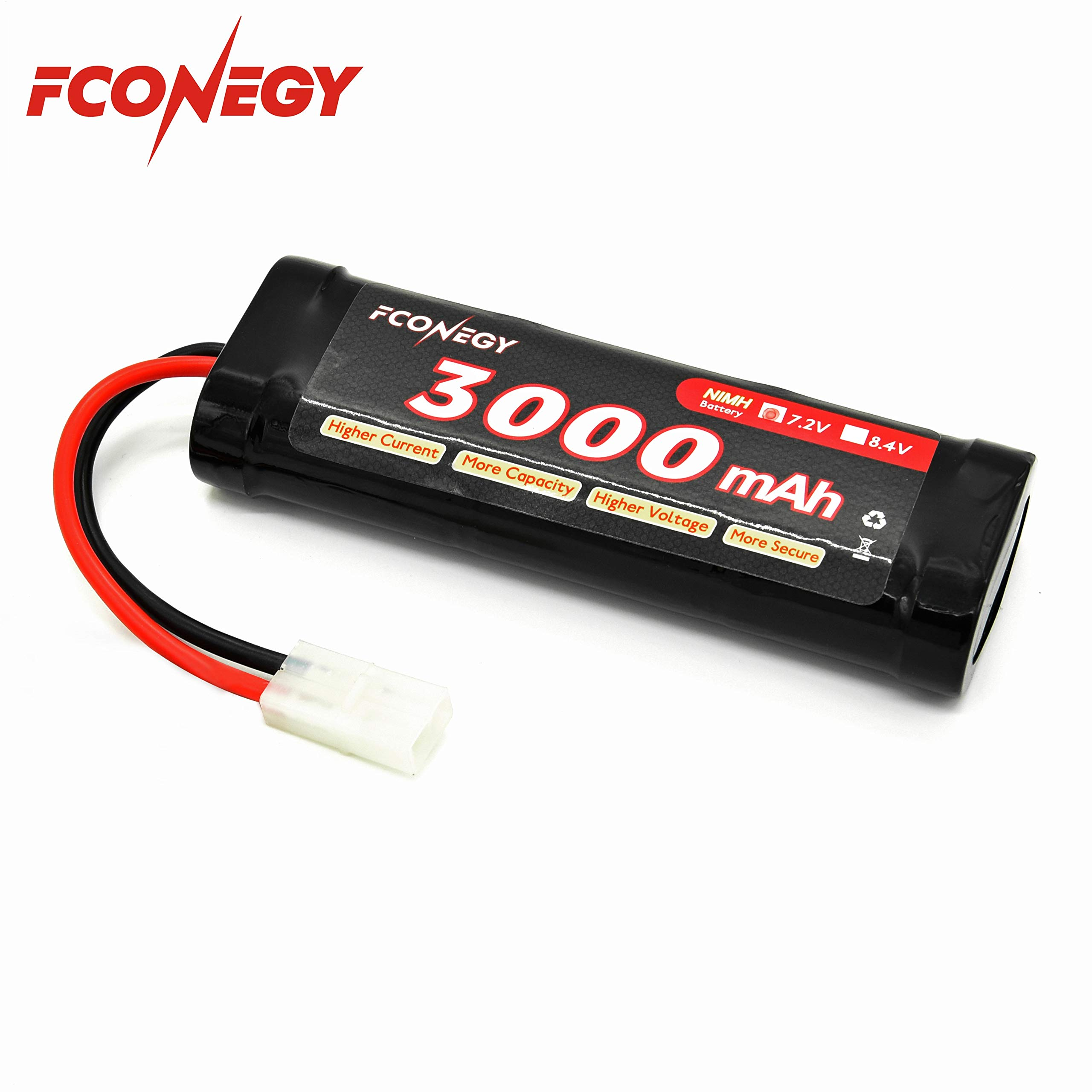 Fconegy NiMH Battery 7.2V 3000mAh 6-Cell Flat Pack with Tamiya Plug for RC Cars, RC Truck,Rc Hobby