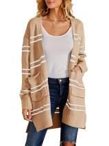 Ferbia Women Fleece Cardigan Striped Boyfriend Sweaters Long Sleeve Open Front Loose Knit with Pockets