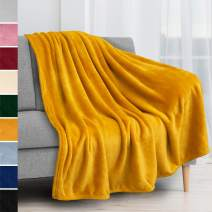 PAVILIA Fleece Blanket Throw | Super Soft, Plush, Luxury Flannel Throw | Lightweight Microfiber Blanket for Sofa Couch Bed (Mustard Yellow, 50x60 inches)