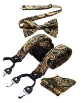 HISDERN Floral 6 Clips Suspenders & Pre Tie Bow Tie and Pocket Square Set Y Shape Adjustable Braces