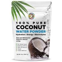 Earth Circle Organics   Pure Young Dried Coconut Water Powder   Hydration   Energy and Electrolyte Supplement   No Additives   Unsweetened   Natural Keto Water Enhancer   Vegan   Gluten Free