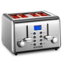 Toaster 4 Slice, AICOOK Retro Stainless Steel Toaster with 4 Extra Wide Slots, Bagel/Defrost/Reheat/Cancel Function, Removal Crumb Tray, 6 Browning Settings(LCD Display)