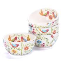 Bico Red Spring Bird Ceramic Bowls Set of 4, 26oz, for Pasta, Salad, Cereal, Soup & Microwave & Dishwasher Safe