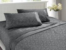 MARQUESS Microfiber Sheet Set-100% Brushed Lace Breathable Lightweight 4-Piece Sheets, Wrinkle Resistant, Soft& Cool Embroidery Bedding Summer Damask Style Printing Design(Charcoal, King)
