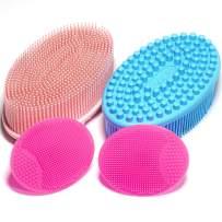 4 Pack Silicone Body Scrubber,Exfoliating Silicone Face Scrubber,Gentle Exfoliating,Baby Shampoo Brush