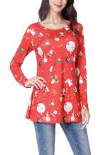 Women's Long Sleeve Christmas Santa Claus Print Pullover Flared Cocktail A Line Party Tunic Dress Winter for Women