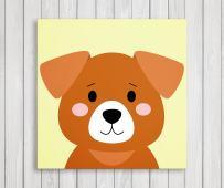 "Cute Little Animals, Nursery Canvas Print Wall Decor, Baby Kid Room Canvas Art Print, Farm Animals Poster Wall Art Print, Great Baby Shower Gift Set Idea - Ready to Hang (11""W x 11""H, Puppy)"