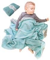 Lightweight Baby Blankets for Girls Boys-Mebien Stroller Crib Nursery Bedding Blanket Quilt Swaddle -Infant Toddler Newborn Unisex -Baby Shower Registry Gifts- Jacquard Dinosaurs Turquoise&Grey 43x47