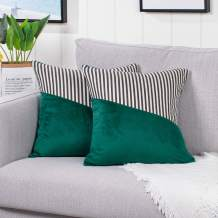 YAERTUN Set of 2 Velvet Soft Decorative Square Throw Pillow Covers Set Cushion Case for Sofa Bedroom Car Cotton Linen Stripe 18 x 18 Inch, Green