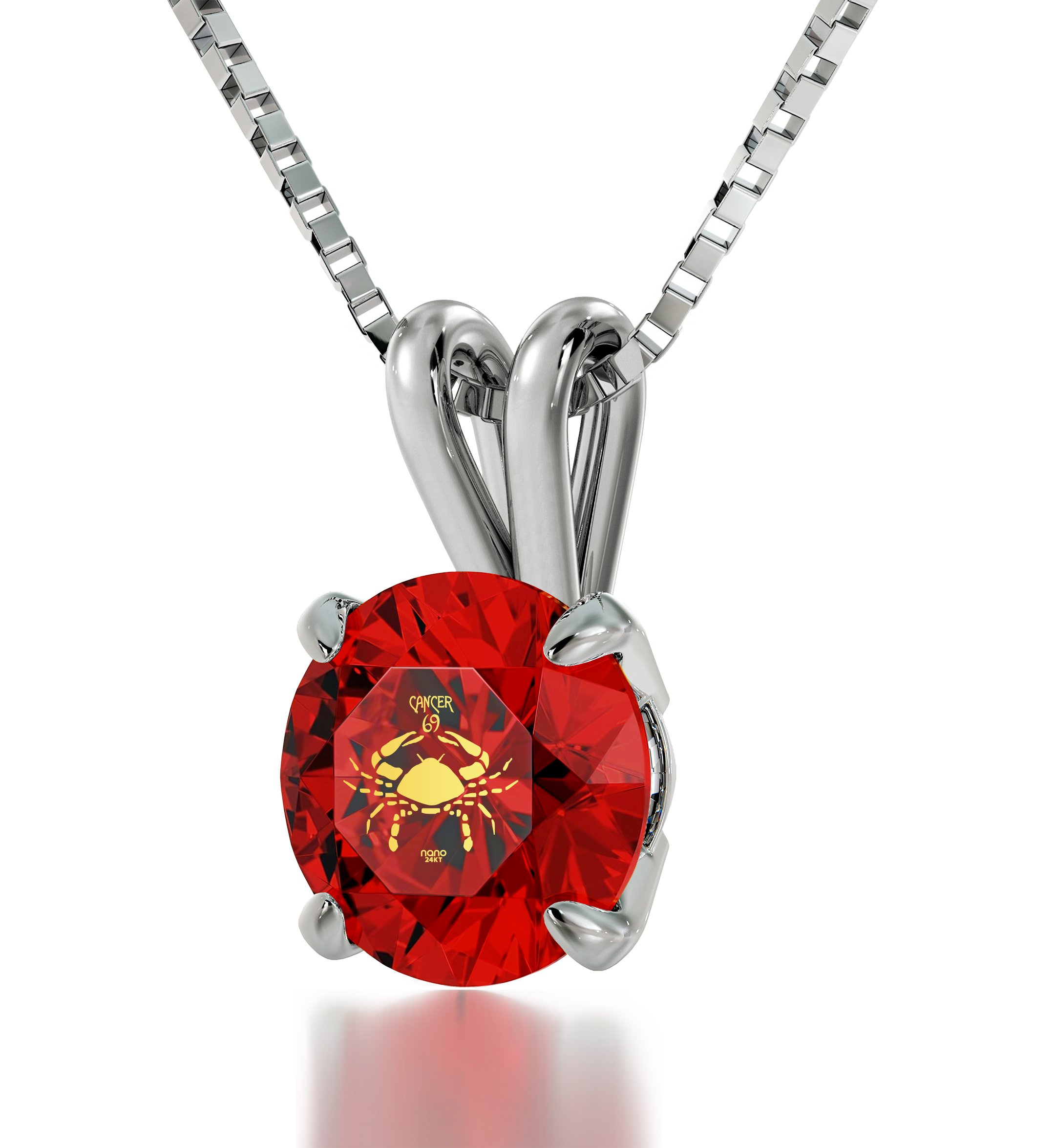 """925 Sterling Silver Cancer Necklace Zodiac Pendant for Birthdays 22nd June to 22nd July 24k Gold Inscribed with Star Sign and Symbol on Solitaire Set Swarovski Crystal Stone, 18"""" Chain"""