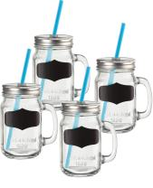 Circleware Yorkshire Mason Jar Drinking Mugs with Glass Handles, Fun Chalkboard, Metal Lids and Hard Plastic Blue Straws, Set of 4, 17.5 ounce, Clear