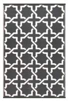Green Decore Lightweight Outdoor Reversible Plastic Serene Rug, (4 x 6, Charcoal Grey/White)