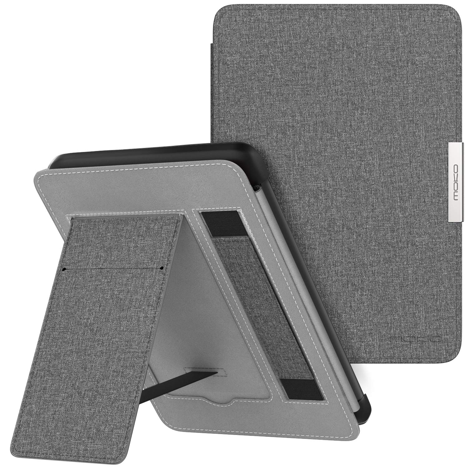 MoKo Case for Kindle Paperwhite, Premium PU Leather PC Hard Shell Smart Stand Cover Fits All Paperwhite Generations Prior to 2018 (Will not fit All-New Paperwhite 10th Generation), Gray