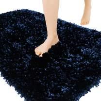Yimobra Luxury Chenille Bath Rug, Extra Soft and Absorbent Shaggy Bathroom Mat, Machine Washable, Non-Slip Plush Rugs Carpet for Tub, Shower, and Bath Room, 24 x 17 Inches, Dark Blue