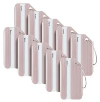 Travelambo Luggage Tags & Bag Tags Stainless Steel Aluminum Various Colors (Pink 10 pcs Set)