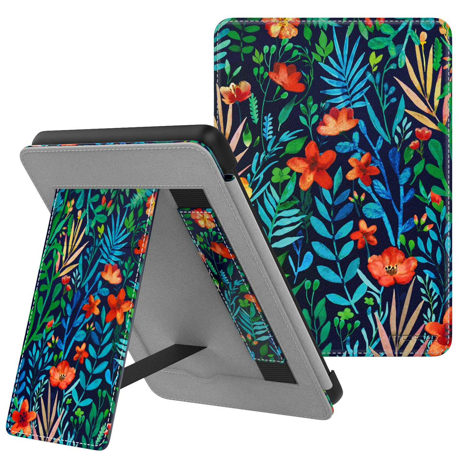MoKo Case Fits Kindle Paperwhite (10th Generation, 2018 Releases), Lightweight PU Leather Cover Stand Shell with Hand Strap for Amazon Kindle Paperwhite 2018 E-Reader - Jungle Night