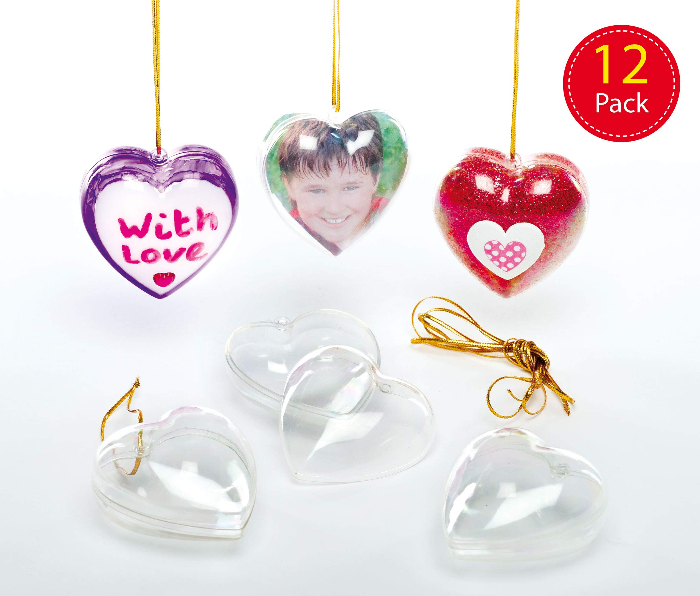 Baker Ross Transparent Heart Baubles (Pack of 12) for Kids to Decorate and Hang on Christmas Tree