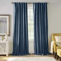 "Elrene Home Fashions Carnaby Distressed Velvet Window Curtain Panel, 50"" x 95"" (1, Denim"