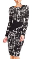 HOMEYEE Women's Voguish Colorblock Wear to Work Pencil Dress B231 (16, A+Black)