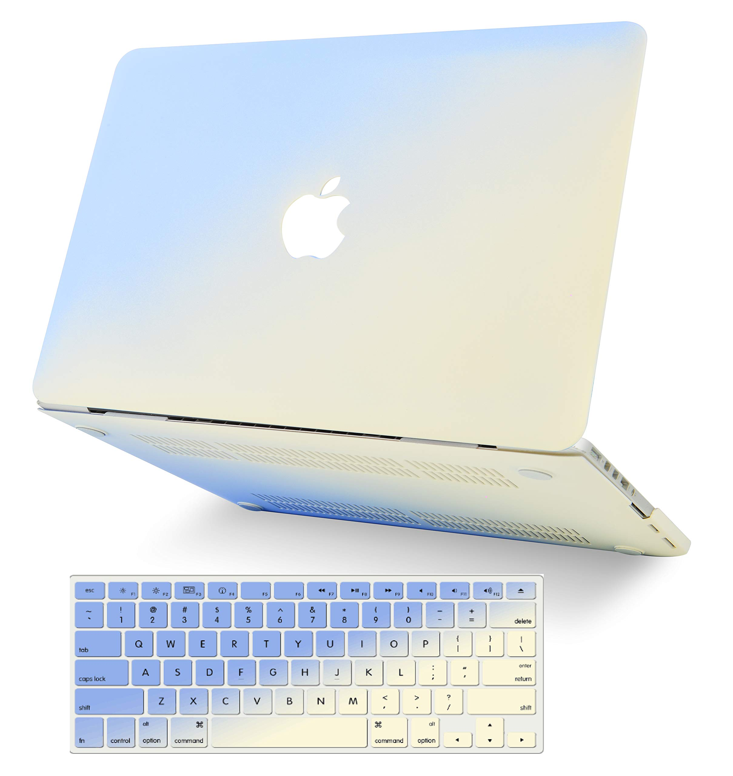 """KECC Laptop Case for MacBook Air 13"""" Retina (2020/2019/2018, Touch ID) w/Keyboard Cover Plastic Hard Shell Case A2179/A1932 2 in 1 Bundle (Blue Cream)"""