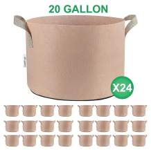 TopoGrow 24-Pack 20 Gallon Grow Bags Tan Fabric Round Aeration Pots Container for Nursery Garden and Planting Grow (20 Gallon, Tan(24-Pack))