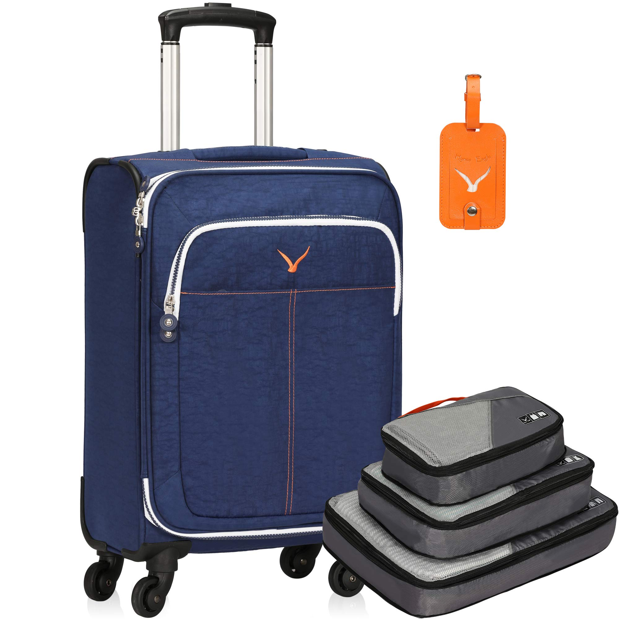 Hynes Eagle 21 inch Softside Luggage with Spinner Wheels 40L Flight Approved Carry on Luggage Travel Suitcase with 3pcs Packing Cubes, Blue