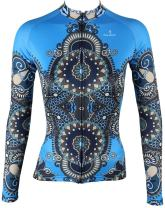 QinYing Cycling Jersey, Women Patterns Stylish Breathable Bicycle Jersey Long Sleeve Blue XS