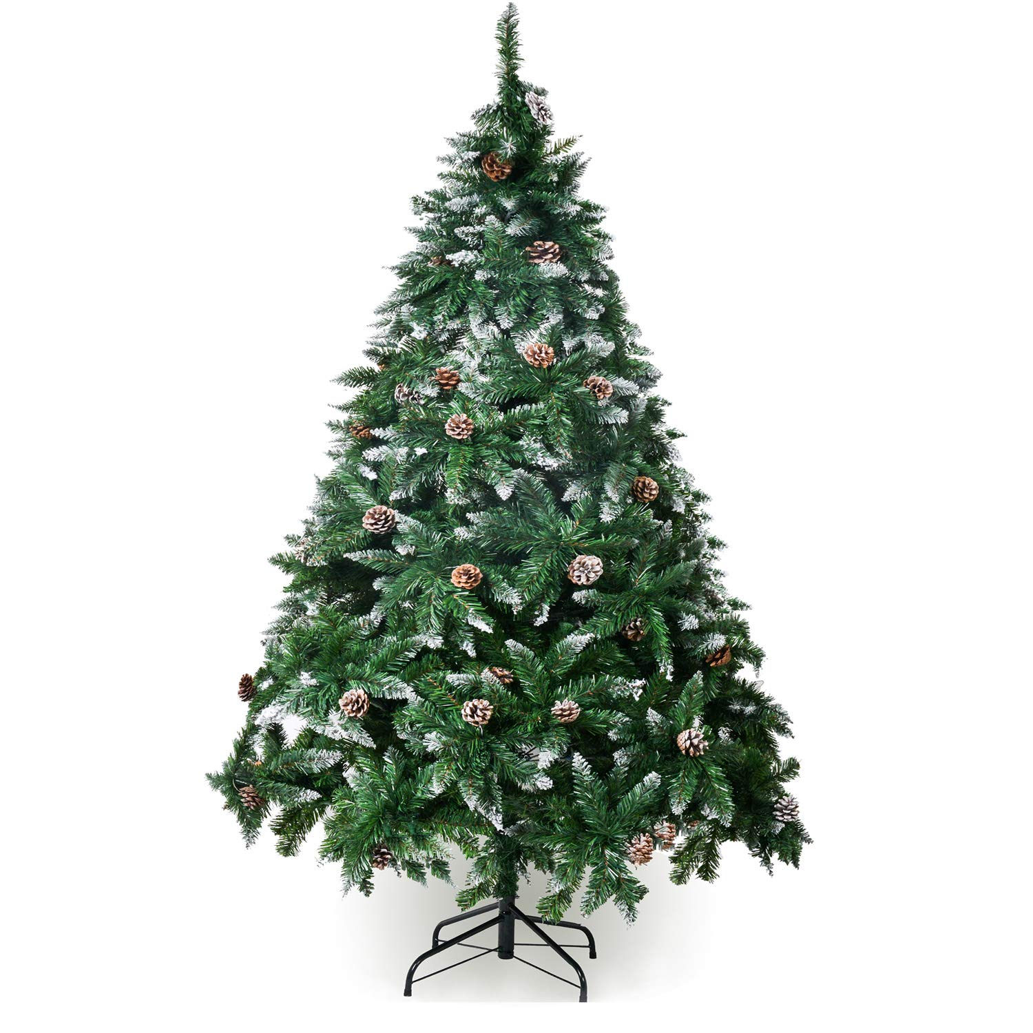 Winregh 4,5,6,7.5 Foot Artificial Christmas Tree Snow Flocked Hinged Pine Cone Decoration Unlit(7.5 Foot)